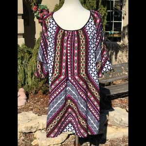 Gibson Latimer cold shoulder tunic dress sz S